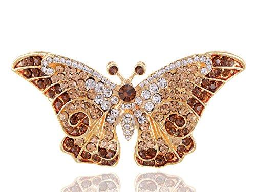 Empress Monarch Winged Butterfly Swarovski Crystal Rhinestones Brooch Pin - Brown