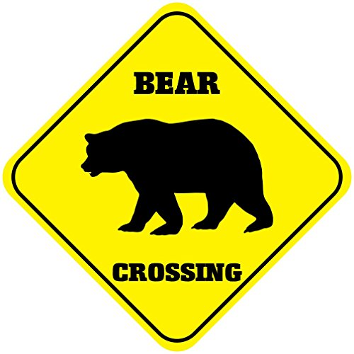 Bear Crossing Funny Metal Aluminum Novelty Sign (Sign Crossing Bear)