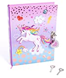 Hot Focus Unicorn Secret Diary with Lock - 7' Journal Notebook with 300 Double Sided Lined Pages, Padlock and Two Keys for Kids