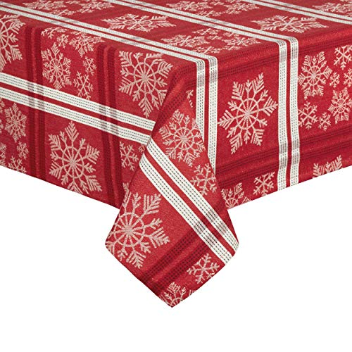 Country Holiday Tablecloth Red and White Snowflakes Woven Fabric Christmas Table Cover (60 x 120 Rectangle)