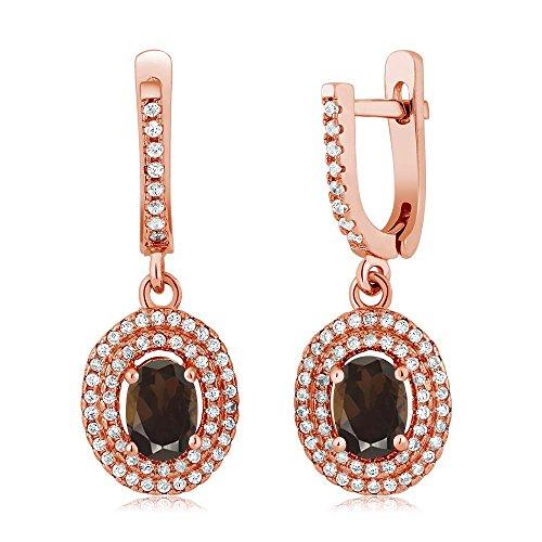 Swarovski Quartz Necklace Smoky (2.32 Ct Oval Brown Smoky Quartz 925 Rose Gold Plated Silver Earrings)