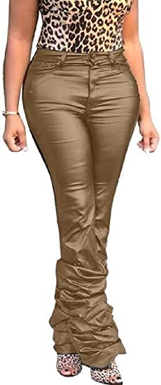 Womens High Rise Stretchy Bodycon Club Faux Leather Ruched Pants