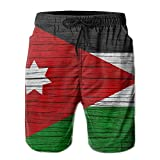 Jordan Wooden Texture Jordan National Flag Men Kid Male Summer Swimming Pockets Trunks Beachwear Asual Shorts Pants Mesh