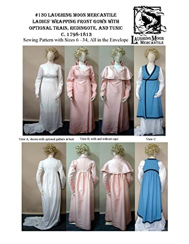 [Ladies Wrapping Front Gown Train Redingote Laughing Moon Costume Pattern 130] (Costume Redingote)