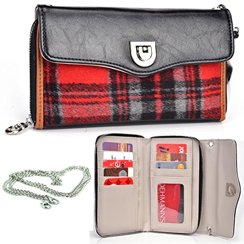 Kroo Splash Wallet Crossbody Merry Plaid (Red/Black) Universal fit for BLU Life Blu Studio 5.0, Play Mini, Pure Mini, Neo 4.5, Quattro 4.5, Blu Sport 4.5, Vivo 4.3, Win JR Phone | Case