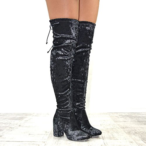 Boots Velvet GLAM ESSEX High Heel Block Ladies Crushed Velvet Over Black Knee Stretch Lace Thigh Womens up The BUqdTnFU6