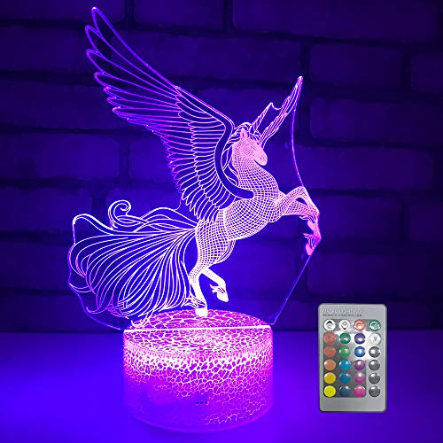 Unicorn Night Light, 3D Optical Illusion Night Lamp for Kids Room Décor,Perfect Birthday Gifts for Kids Women Girls with Remote 16 Colors Adjustable by eTongtop (Horse)