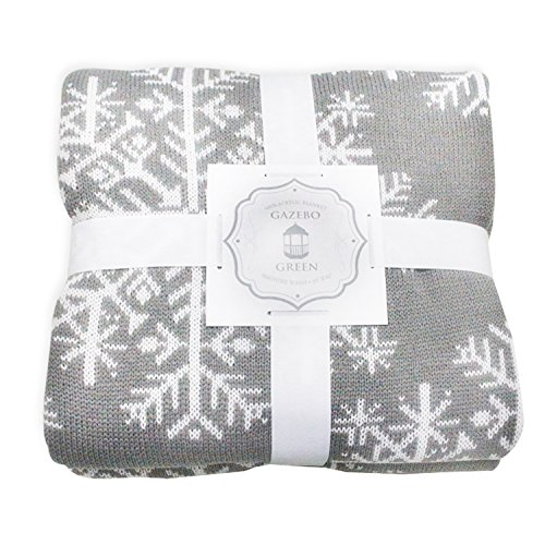 Gazebo Green Grey Winter Snowflake Reversible Knit Throw on Couch Blanket - 50