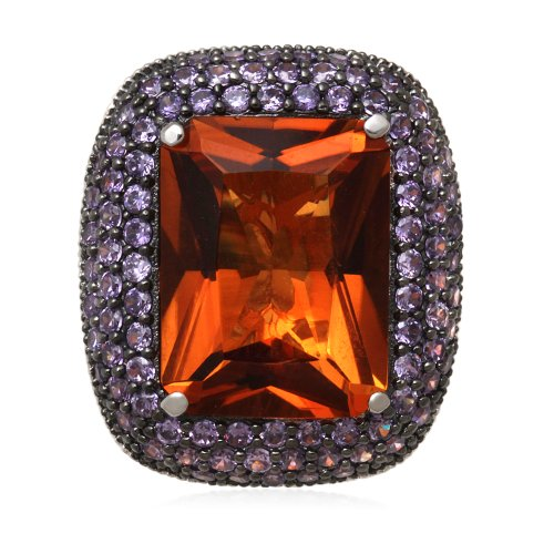 Jewelili Sterling Silver Created Madeira Citrine and Round Cubic Zirconia Amethyst Fashion Ring, Size 7