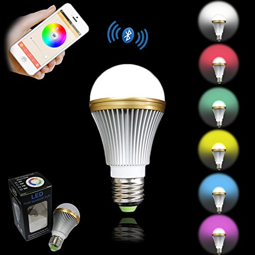 Hongyu Bluetooth LED Light Bulb-dimmable Multicolored Color Changing LED Lights Smart LED Light Bulbs -5 Watt (40 Watt Replacement)-e26 Medium Base-energy Efficient Lighting-smartphone