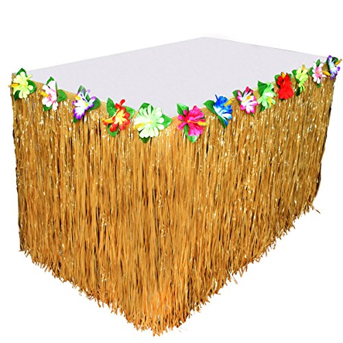 Hawaiian Luau Hibiscus Table Skirts Plastic, Luau Grass Table Skirt Artificial 9ft Colorful Tropical Flowers For Party Decoration Thanksgiving Christmas Holiday Celebration,Yellow, BROSHAN Artificial Grass Table Skirt