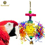 Star Shredder Bird Toy - Brightly Colored Playtoy of Rattan, Wood & Shredded Paper - Satisfies Natural Bird Instinct to Peck & Chew - Safe for Small & Medium Parrots, Cockatiels, Lovebirds & Finches