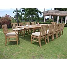 """Clearance 13 Pc Grade-A Teak Wood Dining Set -118"""" Rectangle Table, 10 Armless and 2 Osborne Arm/ Captain Chairs #WFDSOSf"""