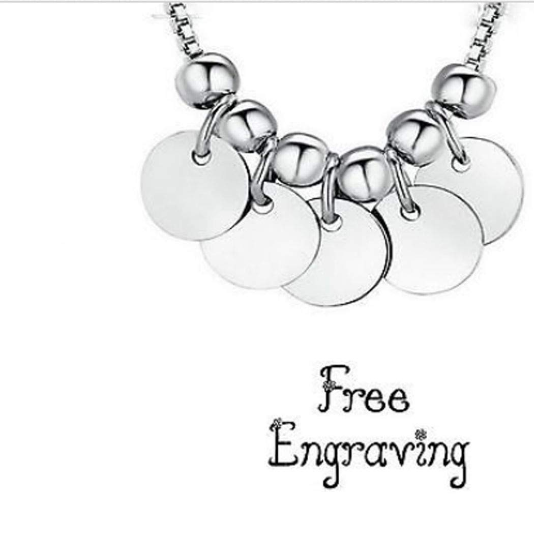 5 Disc Pendant Personalized Silver Plated Necklace Free Engraved Jewelry Gift