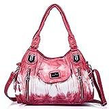 Handbag Hobo Women Handbag Roomy Multiple Pockets Street ladies' Shoulder Bag Fashion PU Tote Satchel Bag for Women (AK812-2Z Red)