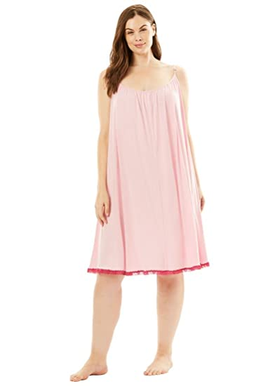 de655d7c2 Amoureuse Women s Plus Size Lace Trim Babydoll Chemise at Amazon Women s  Clothing store