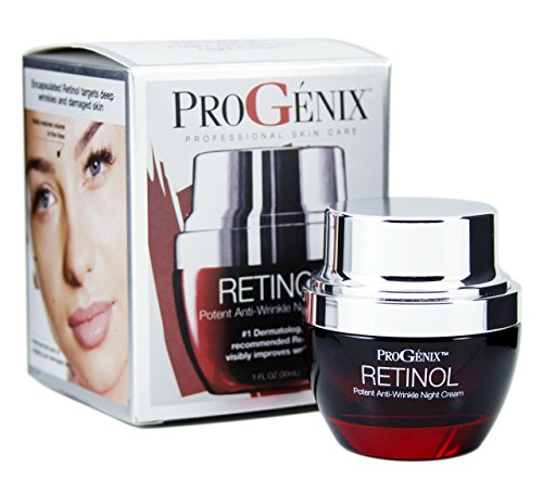 Progenix Profesional Skin Care Retinol Anti-Wrinkle Night cream for fine lines, deep wrinkles, sun damaged skin. 1oz