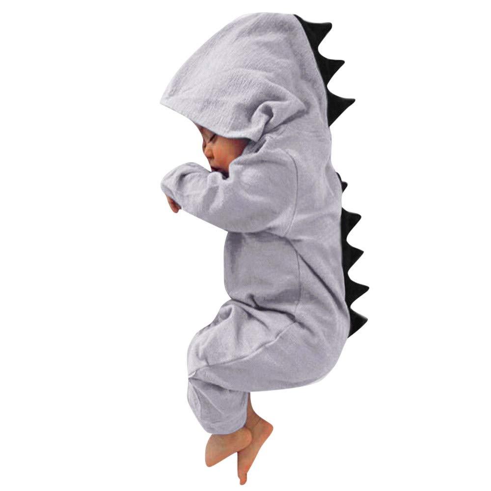 PLENTOP Infant Toddler Baby Girls Boys Dinosaur Hoodie Romper Zip Clothes Jumpsuit 13.6