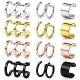 Ruifan 12PCS Stainless Steel Ear Cuff Non piercing Fake Clip-on Cartilage Earring Set Women Girls Men