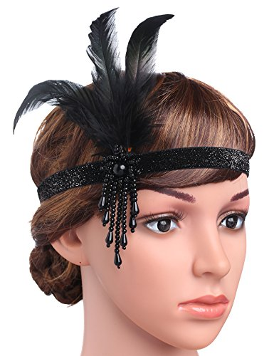 BABEYOND 1920s Flapper Headpiece Roaring 20s Great Gatsby Headband Black Feather Headband 1920s Flapper Gatsby Hair Accessories (Black)