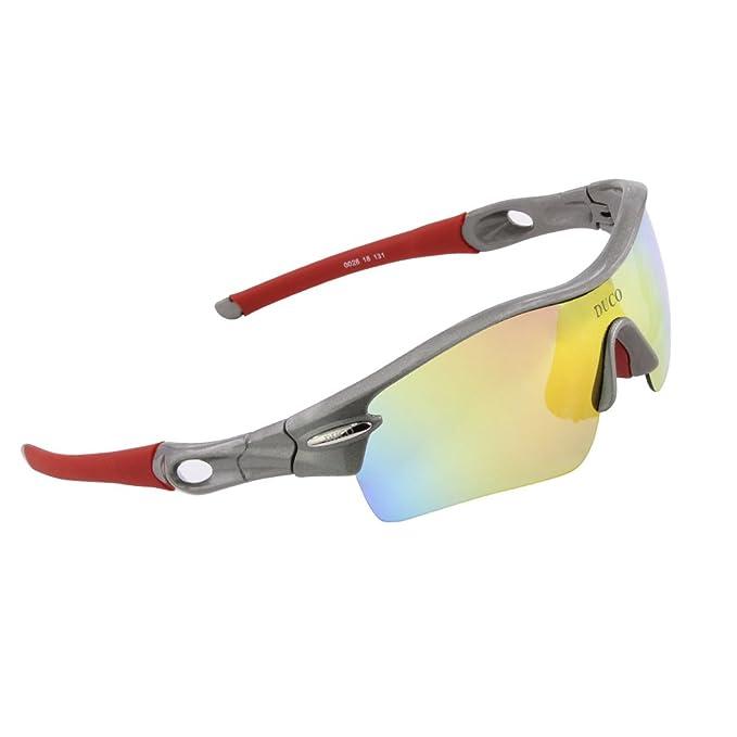 Duco 0026 Gafas de Sol Polarizadas con 5 Llentes Intercambiables Protección Ultravioleta UV400 Deportivas Ciclismo Correr Running Color Verde Fluorescente ...