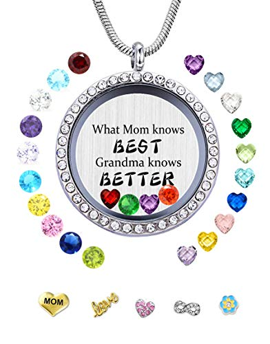 (JOLIN What Mom Knows Best Grandma Knows Better DIY Charms Floating Locket Birthstones Necklace Pendant Women, Best Gifts)