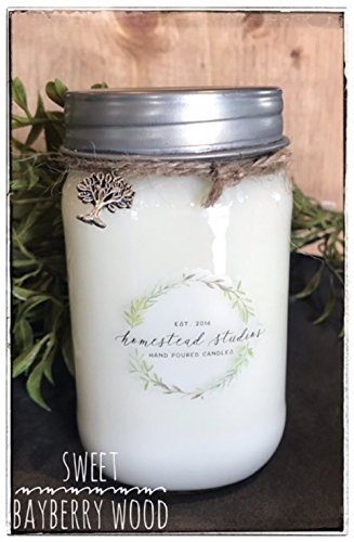 Homestead Studios Sweet Bayberry Wood Scented 16oz Mason Jar Candle 100% Soy - Hand Made, Hand Poured, Wood Wick - Made In The USA