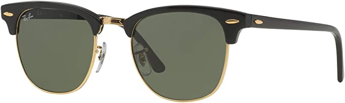 Ray-Ban RB3016 Clubmaster Classic Unisex Sunglasses (Black Frame / Green G-15 Lens W0365, 51): Amazon.es: Ropa y accesorios
