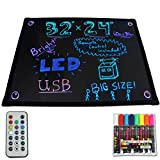 GHP 32'' x 24'' Fluorescent LED Message Board Business Store Sign w 8 Color Marker
