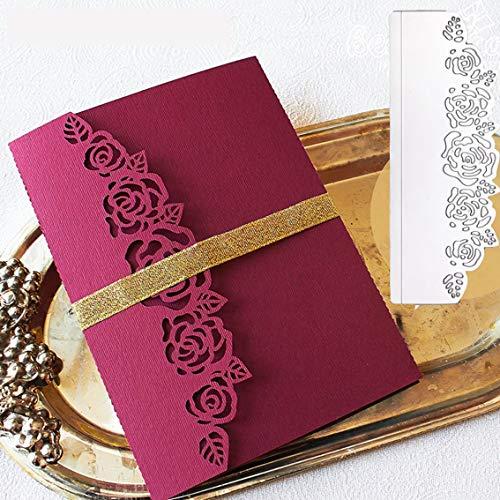 - Rose Flower Border Metal Die Cuts, Invitation Wedding Card DIY Cutting Dies Cut Stencils Template for Scrapbooking Photo Album Decorative Embossing Paper Dies for Card Making