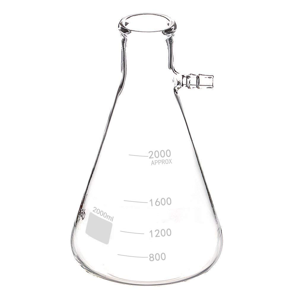StonyLab 2000ml Borosilicate Glass Filtering Flask, Bolt Neck with Tubulation - 2L (2 Liter)