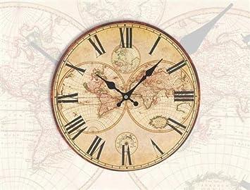 Pendule Horloge Murale Mappe Monde Neuve Deco Bureau Bois