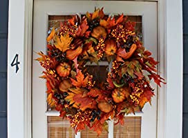 26 inch Montgomery Hollow Silk Fall Door Wreath Beautiful White Gift Box Incl