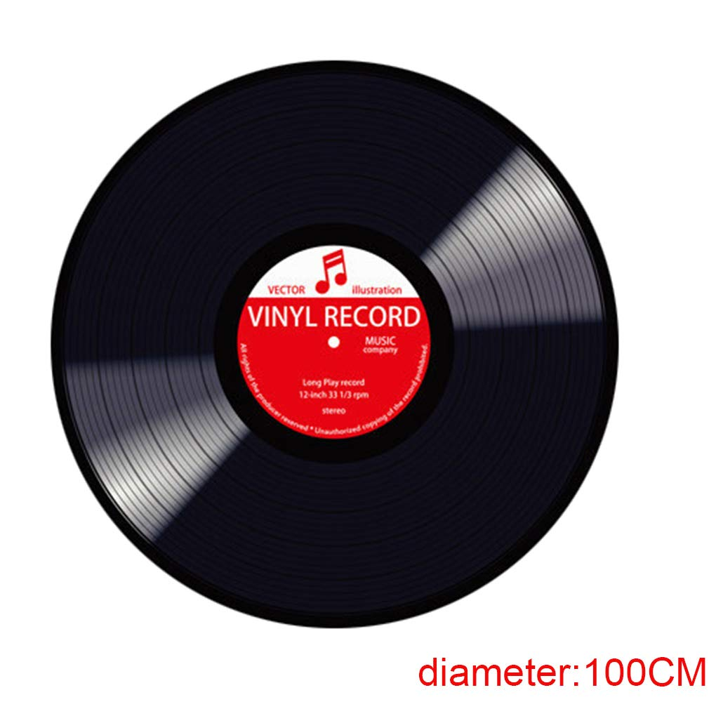 Zerama 3D Vinyl Record Design Round Floor Mat 60/80/100cm Multi Color Living Room Bedroom Kitchen Floor Blanket Carpet