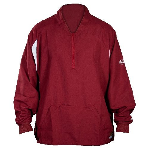 GSM Outdoors LS1432-A-MR-XXL Louisville Adult Slugger Batting Cage Pull-Over Long Sleeve, XX-Large, Maroon