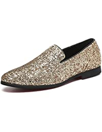 4acb7321712 Men Loafer Metallic Textured Slip-on Glitter Fashion Slipper Moccasins  Casual Dress Shoes Black Gold