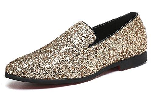 Men Loafer Metallic Textured Slip-on Glitter Fashion Slipper Moccasins Casual Dress Shoes Santimon Black Gold Silver Gold xOKnH09