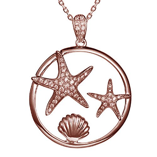 14K Rose Gold Plated Sterling Silver Pave CZ Starfish & Sunrise Shell Necklace Pendant with 18