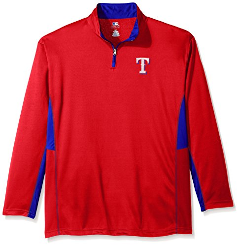 MLB Texas Rangers Men's Long Sleeved Quarter Zip Poly Jersey with Logo Embroided, 3X, Red (Rangers Mens Jerseys)