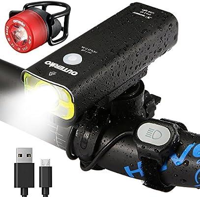 LED Luz Delantera y Trasera Bicicleta OUTERDO USB 400 lúmenes, IP5X Lámpara Impermeable, 5 Modos de Lluminación, Correa de Control Remoto, para Todo Tipo de Bicicletas: Amazon.es: Bricolaje y herramientas