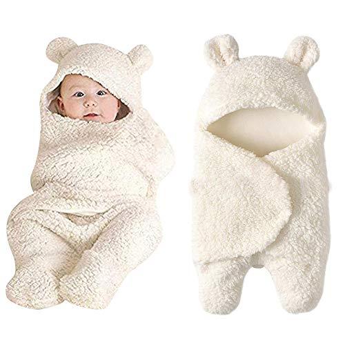 Ribbon Safari Hat - MSOO Newborn Baby Cute Cotton Receiving White Sleeping Blanket Boy Girl Wrap Swaddle (White)