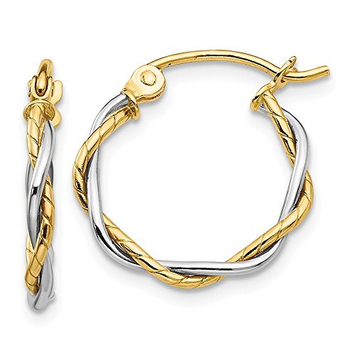 14k Gold Two-tone Polished 2mm Twisted Hoop Earrings (0.47 in x 0.07 in)