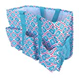 DandyLines Carryall 7 Pocket Fashion Print Tote Utility Bag (Turquoise/Red Diamond)