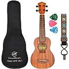 CLOUDMUSIC Ukulele Soprano Mahogany 21 inch Beginner Kit With Aquila Kids Educational Color Strings Ukulele Picks Ukulele Strap Ukulele Gig Bag