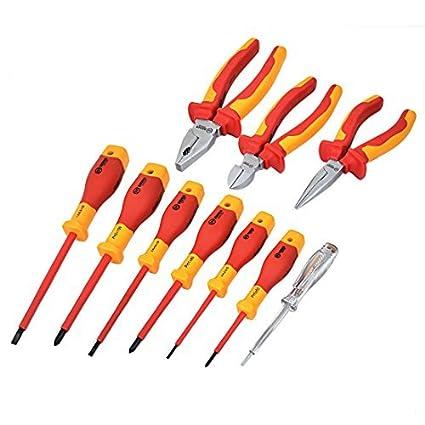 DealMux BOOHER Autorizado de 1000V aislamiento VDE Destornillador de electricista Alicates Kit de herramientas 10pcs
