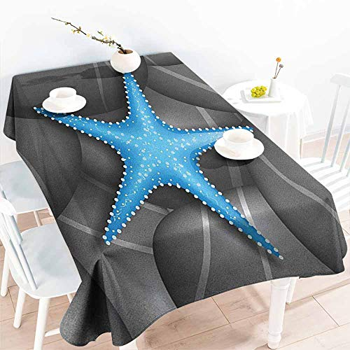 EwaskyOnline Small Rectangular Tablecloth,Starfish Blue Starfish Among The Sea Pebble Stones Ocean Underwater Wildlife Print,Table Cover for Dining,W60x84L, Grey Blue - Page Pebbles Circle