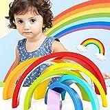 SODIAL Colorful Wooden Blocks Toys Creative Rainbow Assembling Blocks Infant Children Educational Baby Unisex Toys