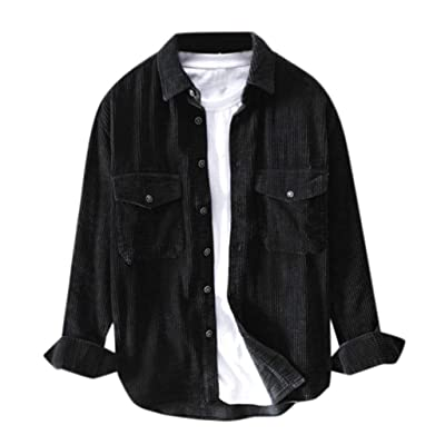 Mens Slim Fit Button Down Shirts Corduroy Jacket Coat Long Sleeve Shirt Blouse Big and Tall Winter T Shirt Tops: Clothing
