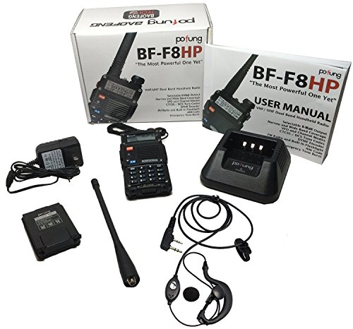 BaoFeng BF F8HP (UV 5R 3rd Gen) 8 Watt Dual Band Two Way Radio (136 174MHz VHF & 400 520MHz UHF) Includes Full Kit with Large Battery