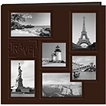 """Pioneer Photo Albums 12 x 12-Inch Collage Frame Embossed """"Travel"""" Sewn Leatherette Cover Memory Book, Brown"""